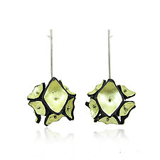 Gilded Flower Drop Earrings by Lindsay Locatelli (Silver & Polymer Clay Earrings)