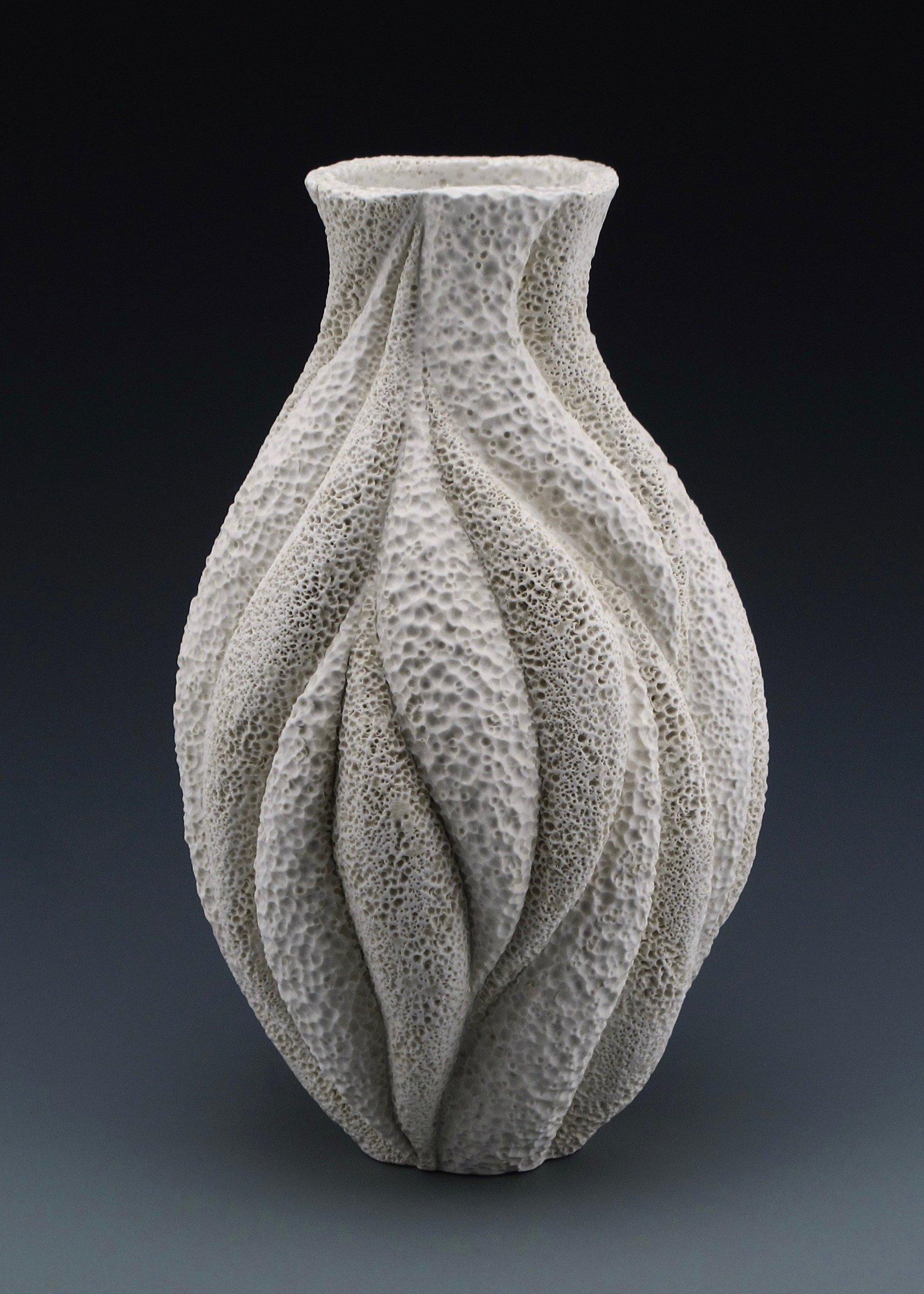 Marissa Coastal Texture Wave Vase by Judi Tavill (Ceramic