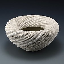 Celeste Coral Collage Whirl Bowl Form by Judi Tavill (Ceramic Bowl)