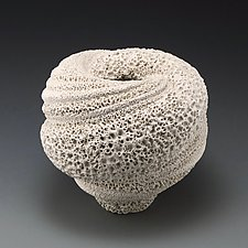 Experimental Texture Whirling Vessel Form A by Judi Tavill (Ceramic Vases & Vessels)