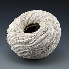 Experimental Rounded Organic Sculptural Form A with Gold Interior by Judi Tavill (Ceramic Sculpture)