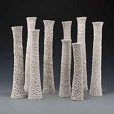Adriatic Coastal Column Vase Set by Judi Tavill (Ceramic Vessels)