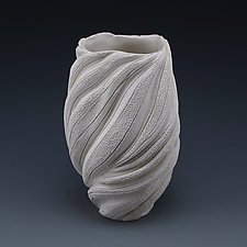 Rica Undulating Coral Collage Vessel by Judi Tavill (Ceramic Vase)