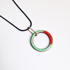 Little Looper Necklace by Jenny Windler (Silver, Copper & Enamel Necklace)