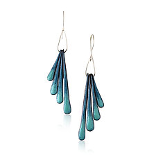 Fringe Wing Earrings by Jenny Windler (Copper and Enamel Earrings)
