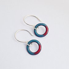 Mini Looper Earrings by Jenny Windler (Copper & Enamel Earrings)