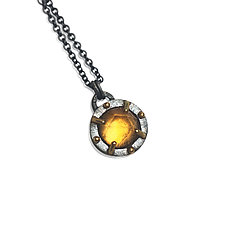 Mixed Metal Juju Pendant in Citrine by Jenny Windler (Gold, Silver & Stone Necklace)