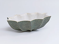 Oval Star Bowl, Black Stipple by Emil Yanos (Ceramic Bowl)