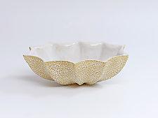 Oval Star Bowl, White Stipple by Emil Yanos (Ceramic Bowl)