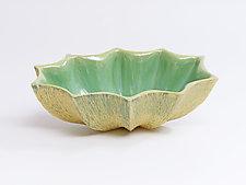 Oval Star Bowl, Green Bark by Emil Yanos (Ceramic Bowl)