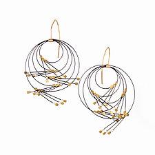 Large Vertigo Earrings by Meghan Patrice  Riley (Gold, Steel & Stone Earrings)