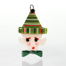 Santa's Little Helper by Terry Gomien (Art Glass Ornament)