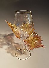 Golden Leaf Goblet #1712 by Jacqueline McKinny (Art Glass Sculpture)
