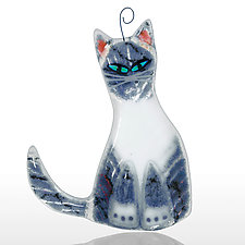 Gray Tabby by Sharon McNamara and Paul Palango (Art Glass Ornament)