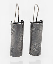 Polka Dot Column Earrings by Jane Pellicciotto (Silver Earrings)