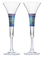 Rainbow-Spun Flutes by Minh Martin (Art Glass Drinkware)