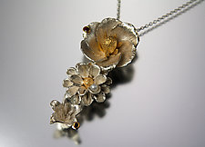 Three-Flower Pendant with Garnets and Pearl by Carol Salisbury (Gold, Silver, Stone & Pearl Necklace)
