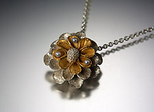 Floral Pendant with Pearls by Carol Salisbury (Gold, Silver & Pearl Necklace)