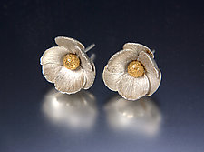 Icelandic Poppy Earrings by Carol Salisbury (Gold & Silver Earrings)