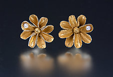 Daisy Earrings with Pearls by Carol Salisbury (Gold, Silver & Pearl Earrings)