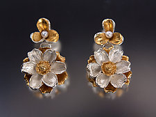 Two-Tier Floral Earrings with Pearls by Carol Salisbury (Gold, Silver & Pearl Earrings)