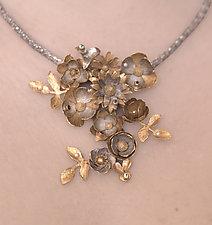 Garden Bouquet Necklace by Carol Salisbury (Gold, Silver, Stone & Pearl Necklace)