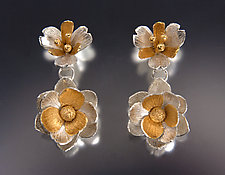Two-Tier Floral Earrings by Carol Salisbury (Gold & Silver Earrings)