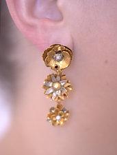 Three-Tier Floral Earrings by Carol Salisbury (Gold, Silver, Stone & Pearl Earrings)