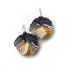 Turning Earrings #3 by Sophia Hu (Polyester & Stainless Steel Earrings)