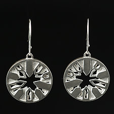 Circle Earrings with Layered Interior Houses by Diana Eldreth (Silver Earrings)