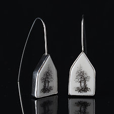 House Earrings with Two Trees by Diana Eldreth (Silver & Ceramic Earrings)