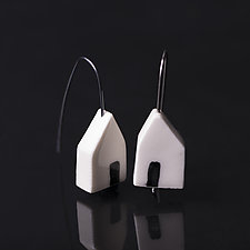 Open House Earrings without Bezel by Diana Eldreth (Silver & Ceramic Earrings)