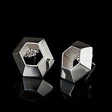 Hexagon Posts by Diana Eldreth (Silver Earrings)