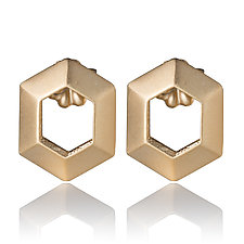Vermeil Hexagon Earrings by Diana Eldreth (Gold Earrings)