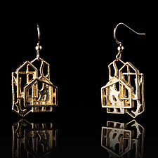 Vermeil Overlapping House Earrings with Branch by Diana Eldreth (Gold & Silver Earrings)