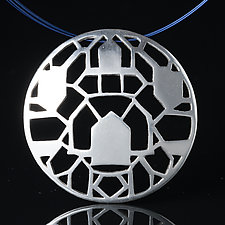 Sterling Silver Domed Pendant with Houses by Diana Eldreth (Silver Necklace)
