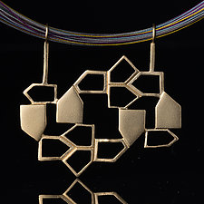 Vermeil Pendant with House Shapes by Diana Eldreth (Gold & Silver Necklace)