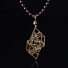 Vermeil Geometric Pendant with Beads by Diana Eldreth (Gold & Silver Necklace)
