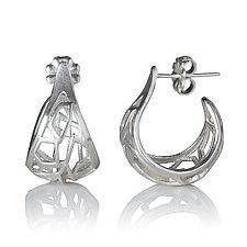 Sterling Silver Basket Hoops by Diana Eldreth (Silver Earrings)