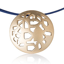 Round Vermeil Pendant with House Shapes by Diana Eldreth (Gold Necklace)