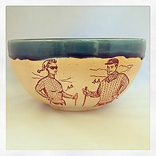 Ski Day Serving Bowl by Chris Hudson and Shelly  Hail (Ceramic Bowl)