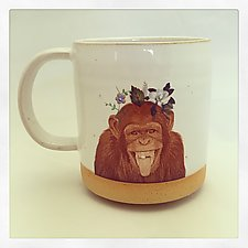 Talk to the Animals: Chimpanzee Mug by Chris Hudson and Shelly  Hail (Ceramic Mug)