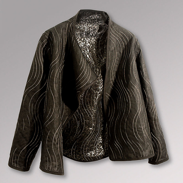 Glazed Black Linen and Lace Jacket
