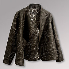 Glazed Black Linen and Lace Jacket by Uosis Juodvalkis  and Jacquie Rice (Linen Jacket, XS (6-8))