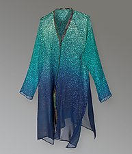Flying Jacket - Teal Crackle by Uosis Juodvalkis  and Jacquie Rice  (Silk Jacket)