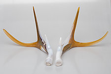 Sand and Snow Glass Antler Set by Grant Garmezy (Art Glass Sculpture)