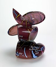 Remnant Sculpture in Purple and Cream by Justin Hunting (Art Glass Sculpture)
