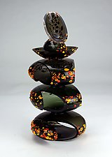 Large Remnant in Black by Justin Hunting (Art Glass Sculpture)