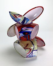 Remnant Sculpture in Red and White by Justin Hunting (Art Glass Sculpture)