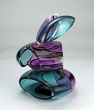 Transparent Remnant in Amethyst and Teal by Justin Hunting (Art Glass Sculpture)